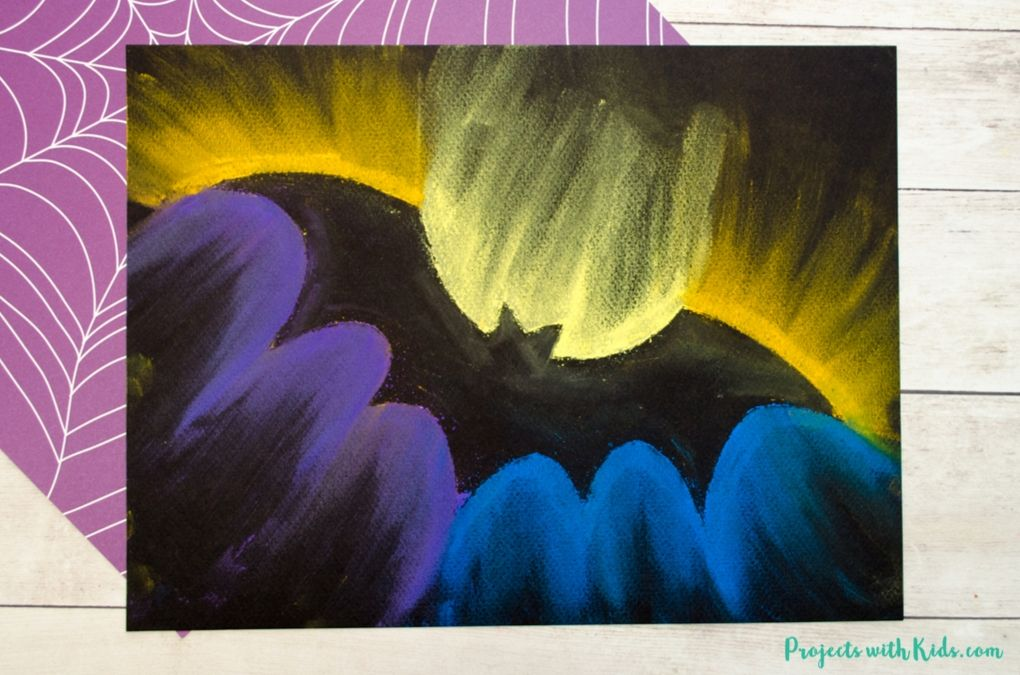Bat chalk pastel art on black paper
