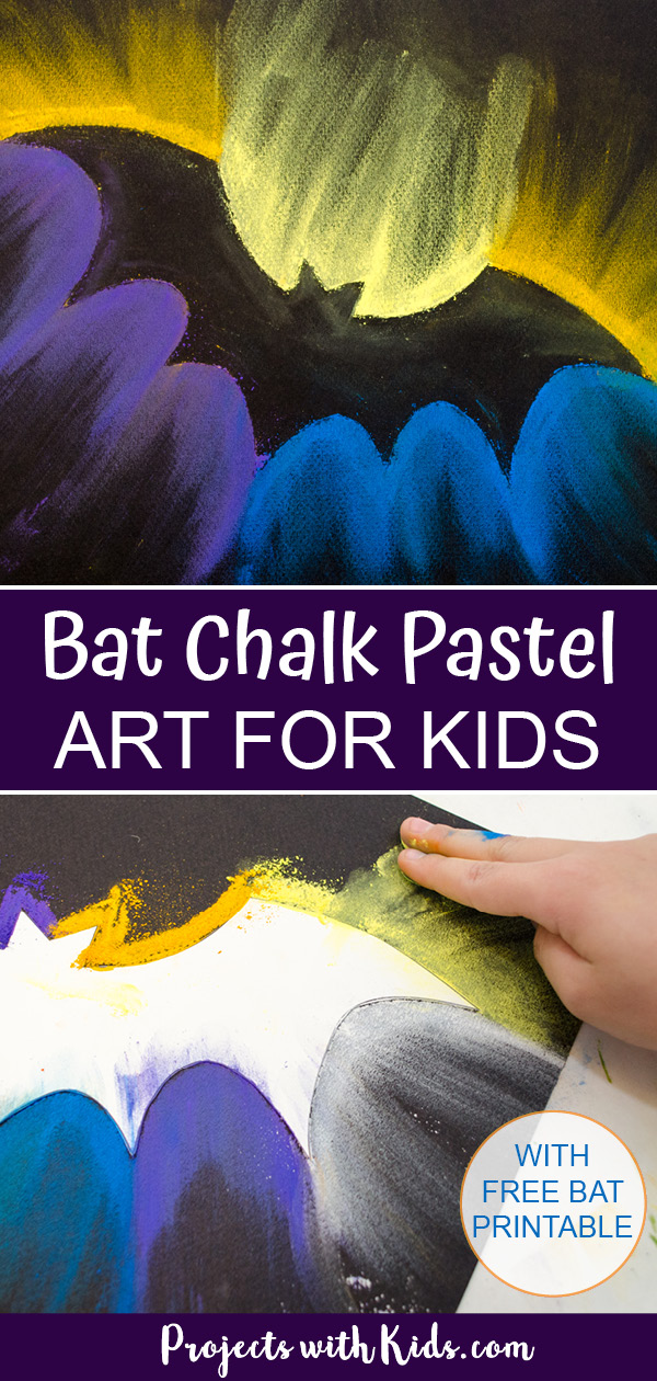 Bat chalk pastel art for kids