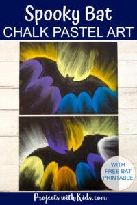 Bat art project using chalk pastels on black paper