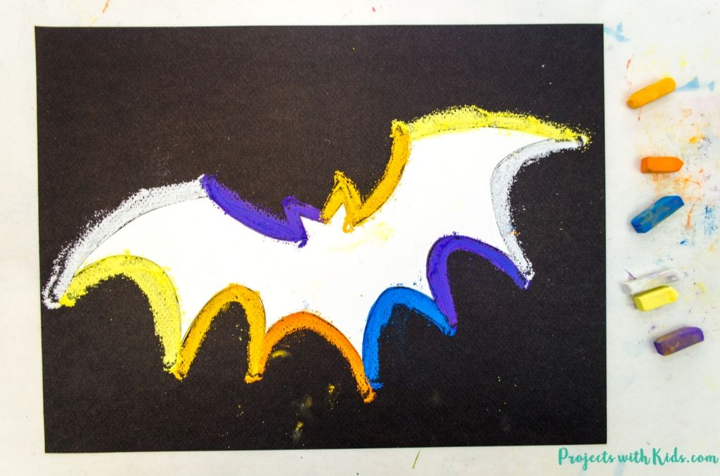 Bat template with colorful chalk pastel outline drawn around