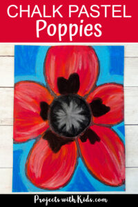 Chalk pastel poppies art project for kids