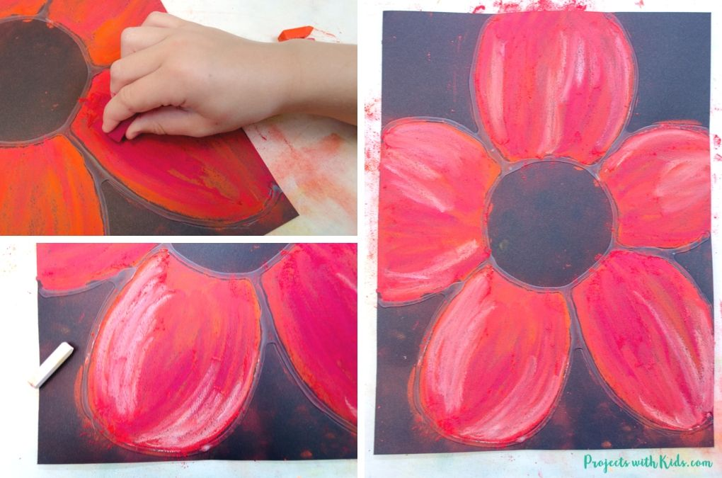 Adding light and dark shades to a red poppy drawing