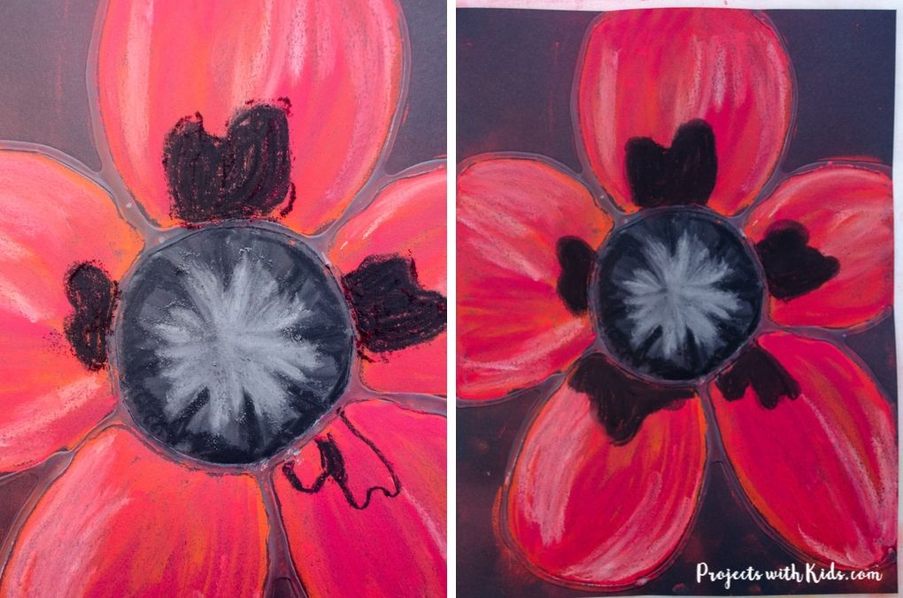 Adding in black detail to a red poppy chalk pastel art project for kids