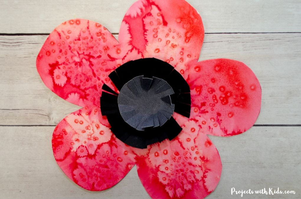 Red poppy watercolor painting with black and grey paper center