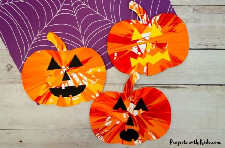 Pumpkin Spin Painting Halloween Art Project for Kids