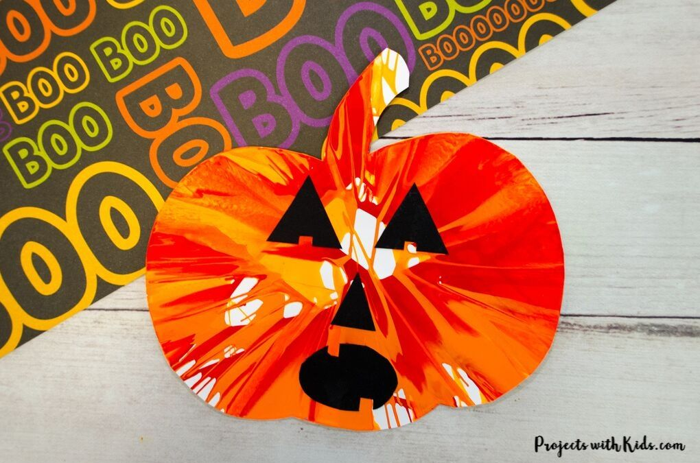 Halloween pumpkin spin art