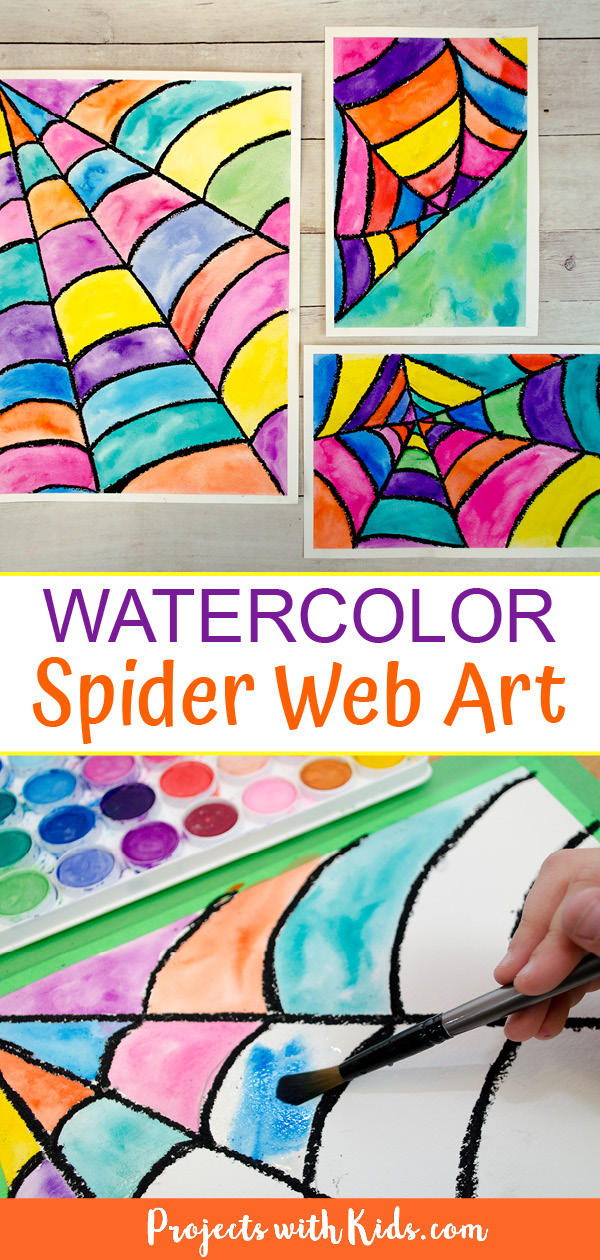 Spider web art painted with watercolors and black oil pastels
