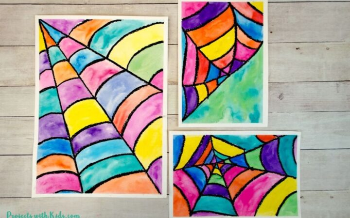 Watercolor spider web art for kids to make
