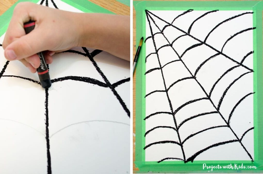 Drawing with black oil pastel over a spider web drawing