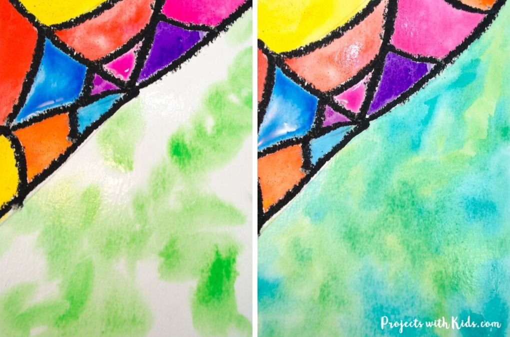 Watercolor spider web art for kids to paint