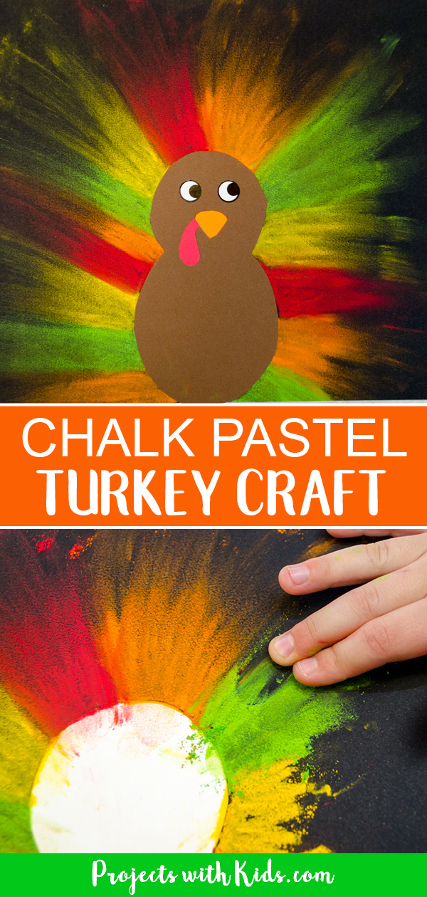 Chalk pastel turkey craft with colored cardstock and pastels on black paper