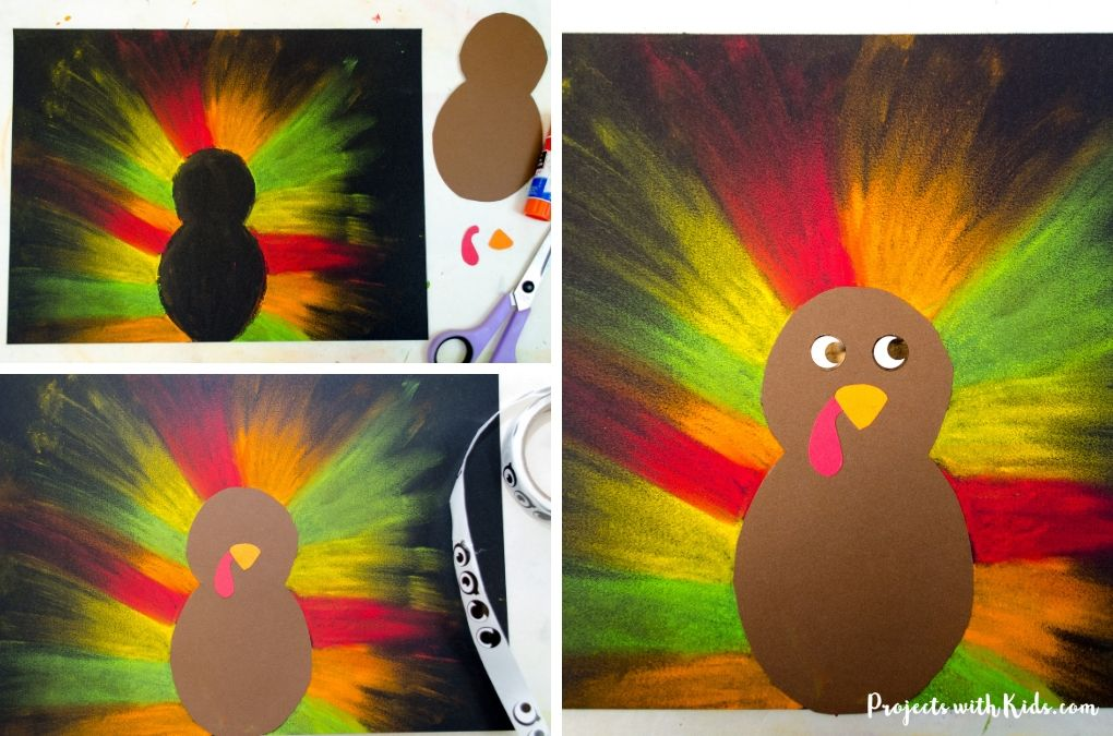 Finishing a turkey craft with cardstock and sticker eyes