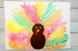 watercolor turkey craft with paper turkey