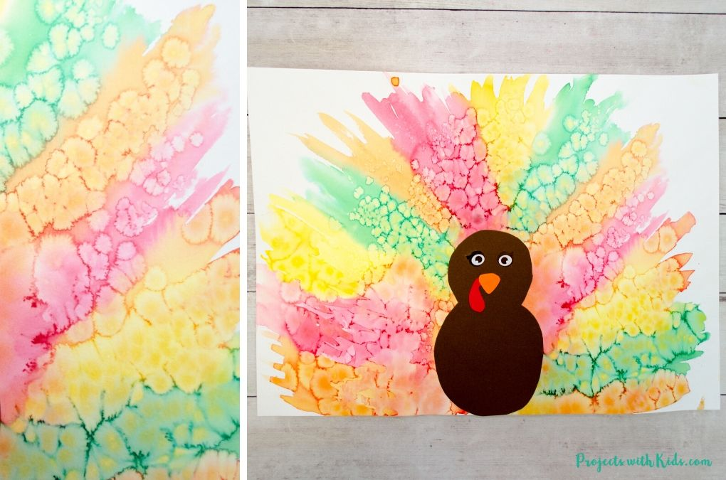 Finished image of a watercolor turkey craft for kids to make for Thanksgiving or fall time