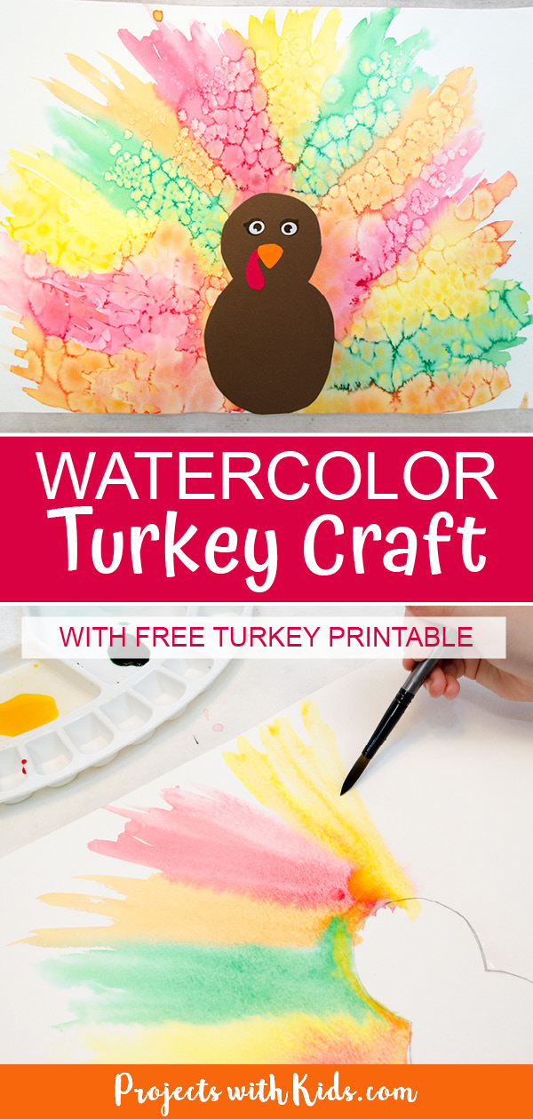 Watercolor turkey craft for kids to make with free turkey printable