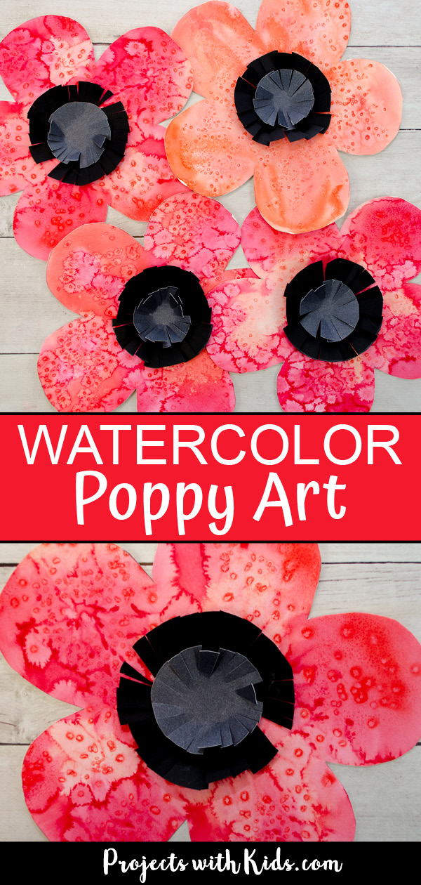 Watercolor poppy art project for kids