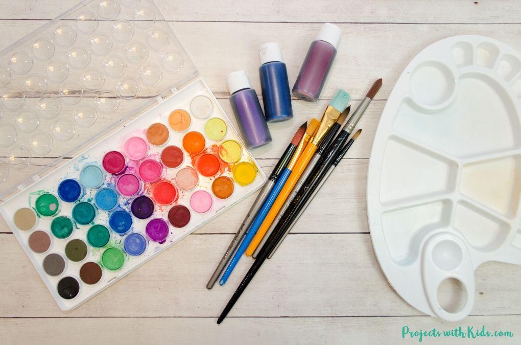 watercolor supplies for beginners - watercolor paints, paintbrushes, paint palette