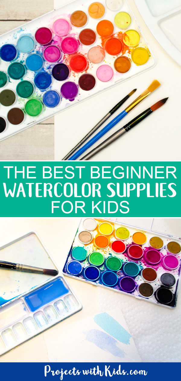 Beginner watercolor supplies for kids - watercolor paint, paintbrushes and paint palette