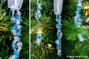 Beaded icicle ornaments Christmas craft for kids to make.