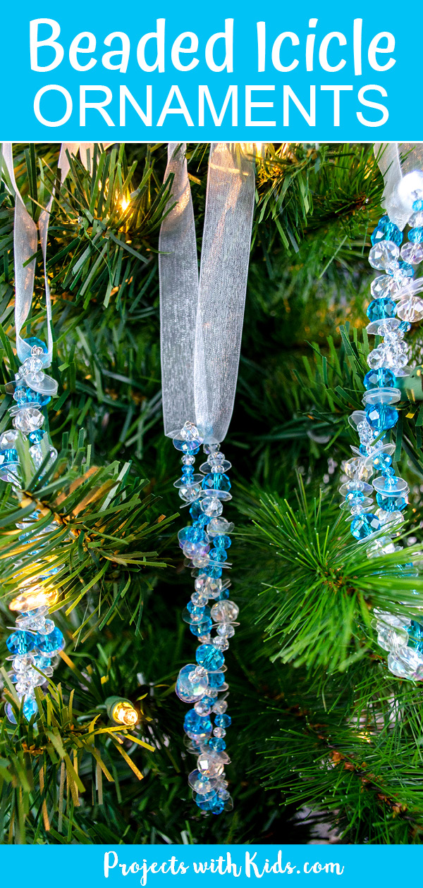 Beaded icicle ornaments for kids to make, easy Christmas craft idea.