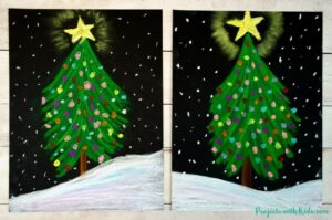 Chalk pastel Christmas tree for kids to make