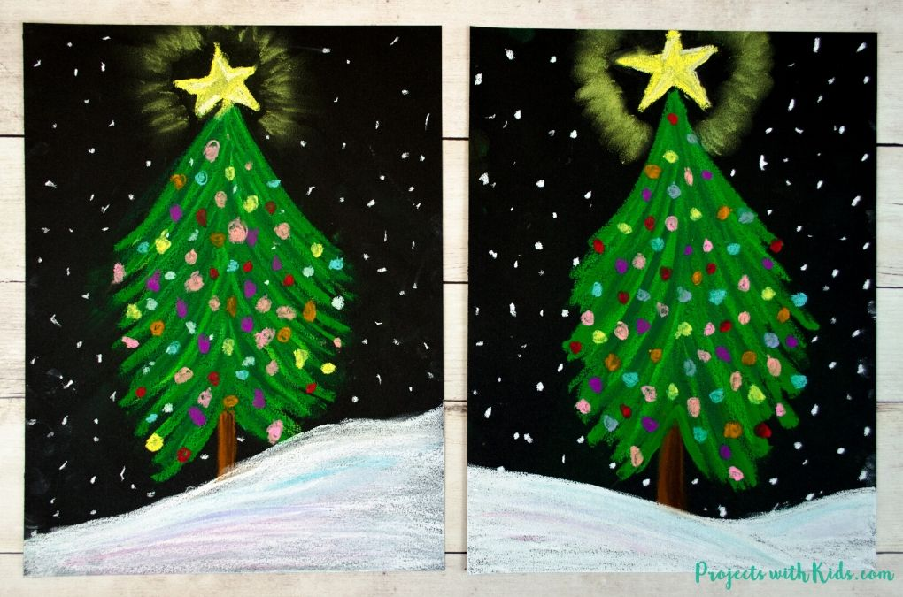 Chalk Pastel Christmas Tree