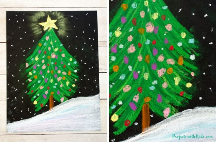 Finished image of a chalk pastel Christmas tree.