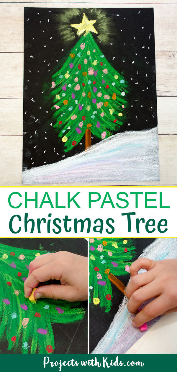 Chalk pastel Christmas tree art project for kids.