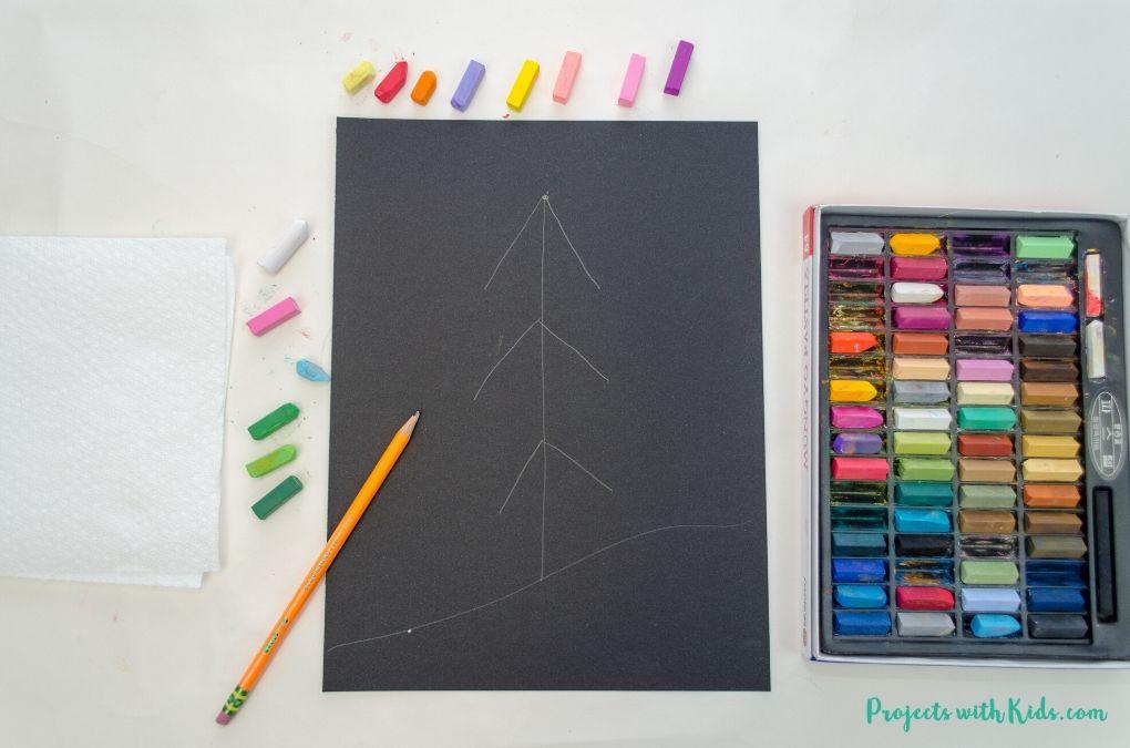 Christmas tree drawing on black paper