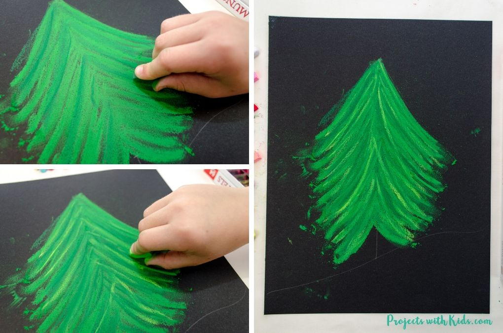 Adding light and dark shades of green to a chalk pastel Christmas tree