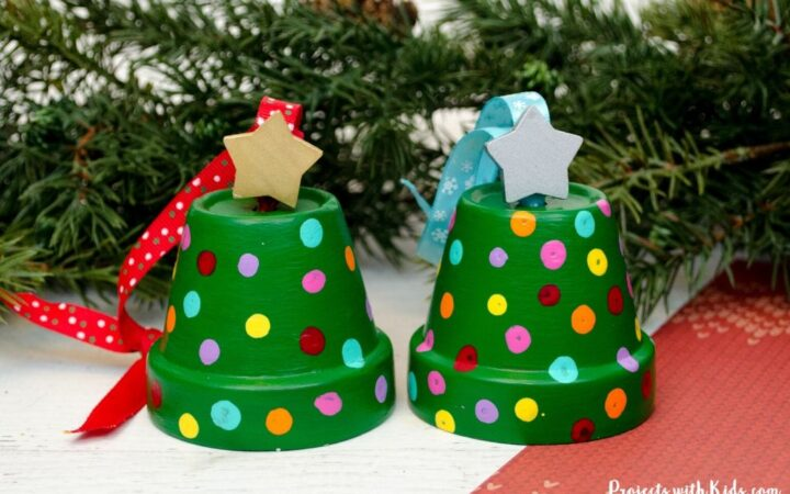Clay pot Christmas tree ornaments for kids to make