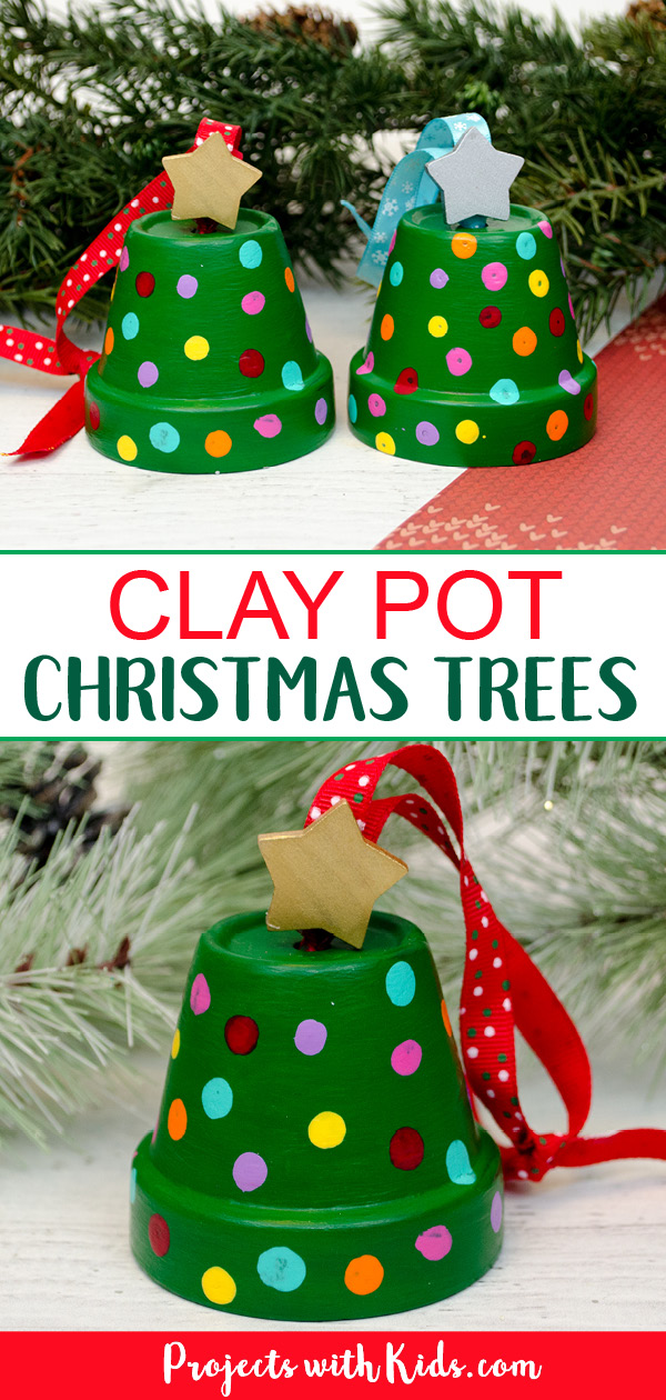Clay pot christmas tree ornaments kids can make.