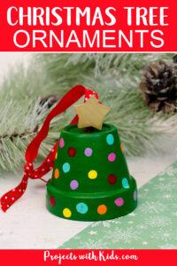 DIY clay pot christmas tree ornaments.