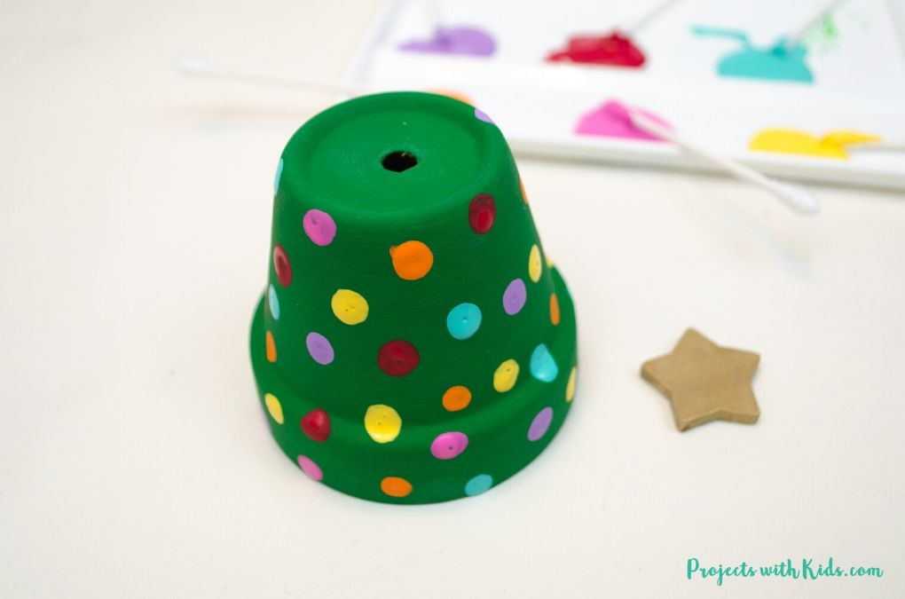 Clay pot Christmas tree ornament craft for kids to make.