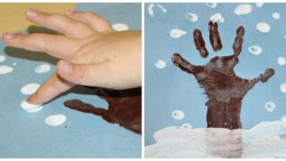 How to Make a Winter Hand Print Tree with Snowy Fingerprints
