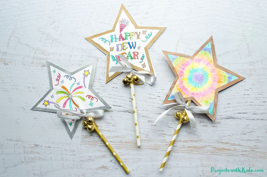 New Years wishing wands paper craft