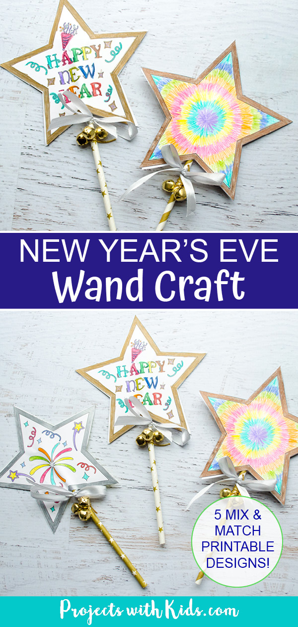 New Years wand craft paper craft for kids