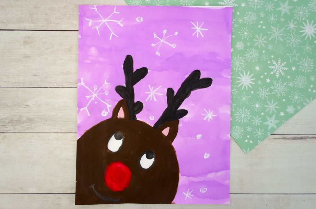 Reindeer painting for kids to make.