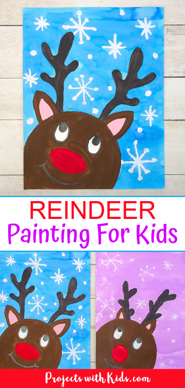 Adorable reindeer painting for kids to make.