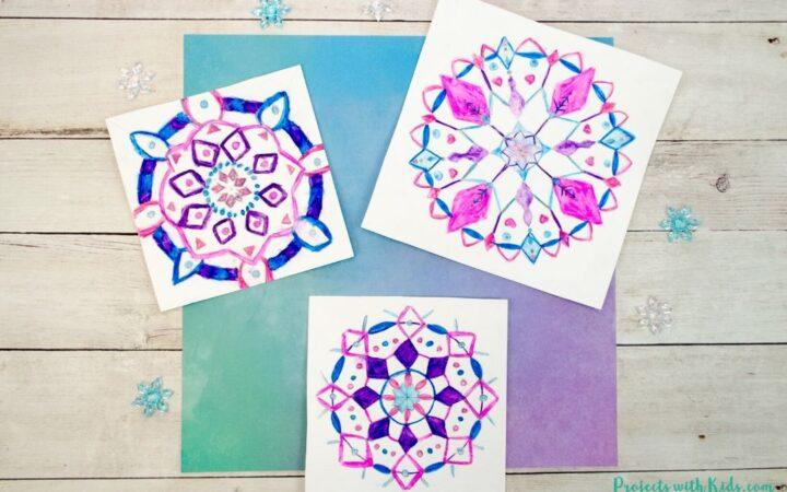 Snowflake mandala drawings using watercolor pencils
