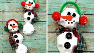 Make an Easy Egg Carton Snowman Craft Ornament