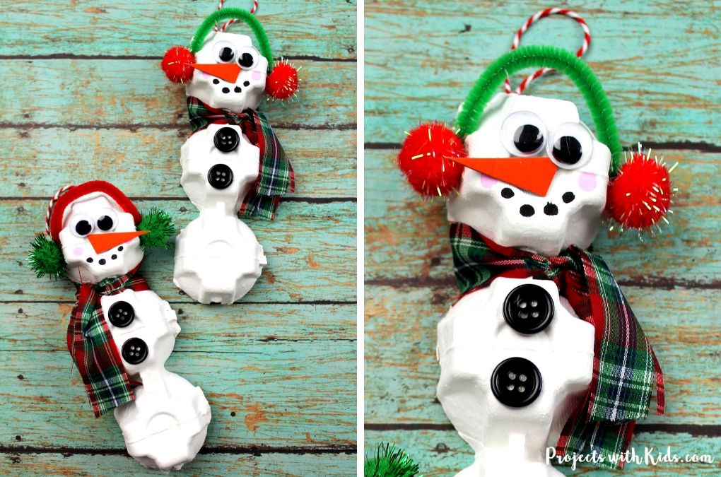 Egg carton snowman craft ornaments for kids to make.