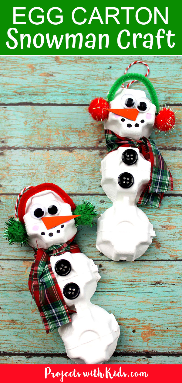Egg carton snowman craft ornament for kids to make.