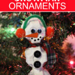 Snowman ornament craft using egg cartons.