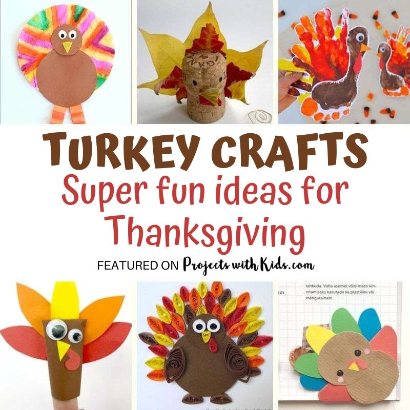 Fun ideas with turkeys for Thanksgiving. Turkey crafts for kids to make.