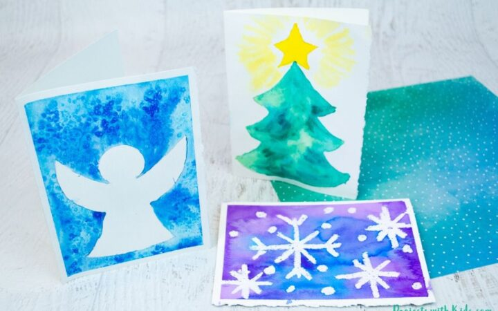 3 types of easy watercolor Christmas cards for kids to make.