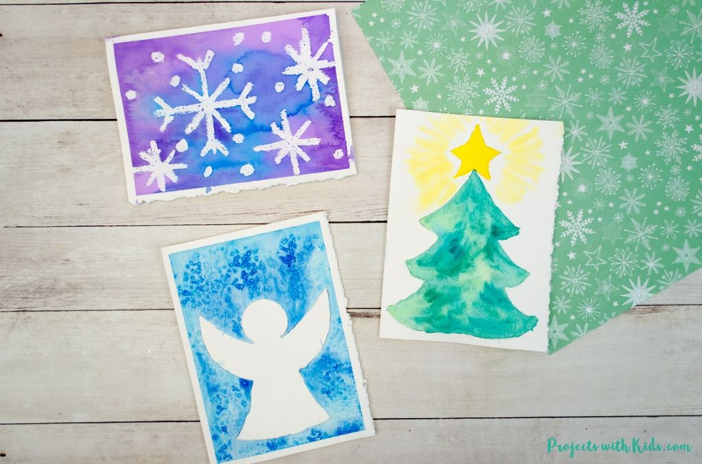 Easy watercolor Christmas cards for kids and adults to make.