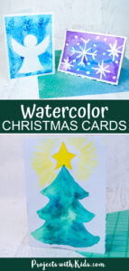 Easy watercolor Christmas cards using easy watercolor techniques.