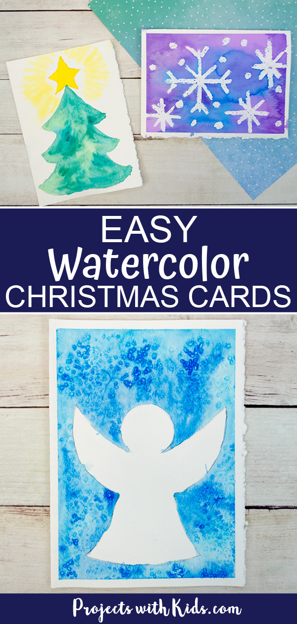 Easy watercolor Christmas cards for kids to make.