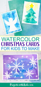 Watercolor Christmas cards for kids to make using easy watercolor techniques.